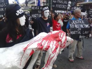 At the 42nd anniversary of Marcos' declaration of Martial Law, a multisectoral protest was held at Mendiola St., calling for justice for all victims of human rights violations. PAUL CARSON