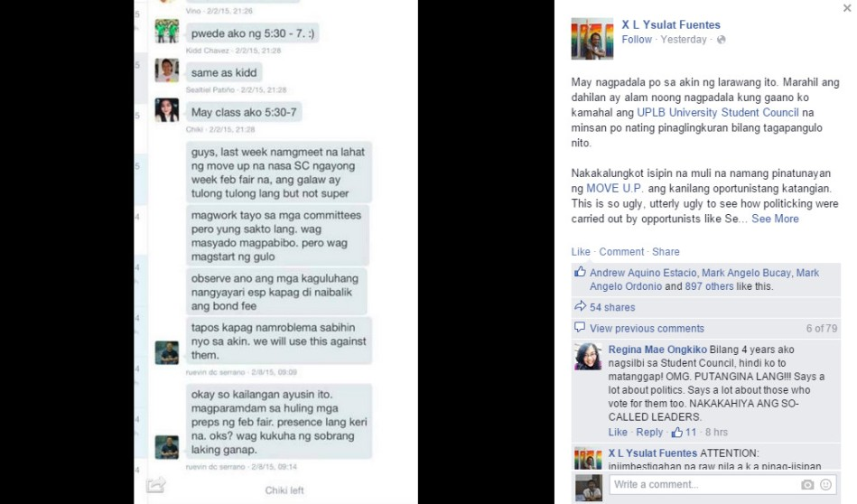 The alleged messages from top MOVE UP leader Ruevin Serrano was posted on Monday night. Screengrab: Facebook/X L Ysulat Fuentes.