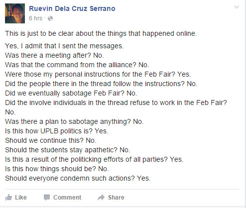 MOVE UP's Ruevin Serrano responds to the leaked online conversation. Screengrab from Facebook: Ruevin Dela Cruz Serrano.