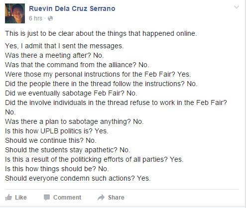 MOVE UP's Ruevin Serrano responds to the leaked online conversation. Screengrab from Facebook: Ruevin Dela Cruz Serrano.
