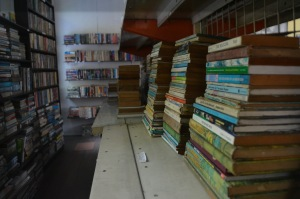 The store's second floor houses thousands of books.